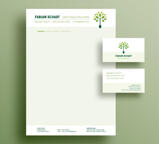 rothweiler | grafische kommunikation – Fabian Schadt, Gartengestaltung – Briefbogen + Visitenkarten