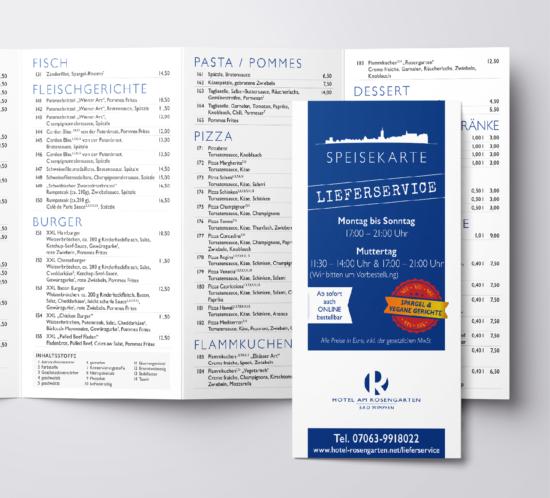 rothweiler | grafische kommunikation – Hotel am Rosengarten, Lieferservice-Flyer