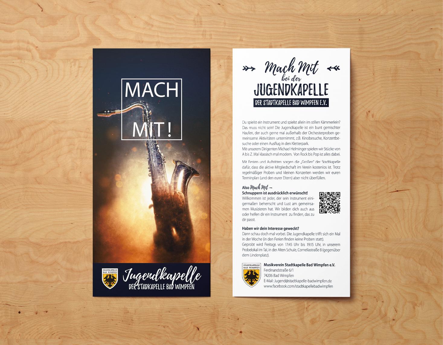 """rothweiler   grafische kommunikation – Stadkapelle Bad Wimpfen, Flyer """"Mach mit!"""""""
